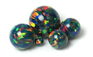 Black Lab Created Opal Beads, Synthetic Opal Beads, Opal Ball