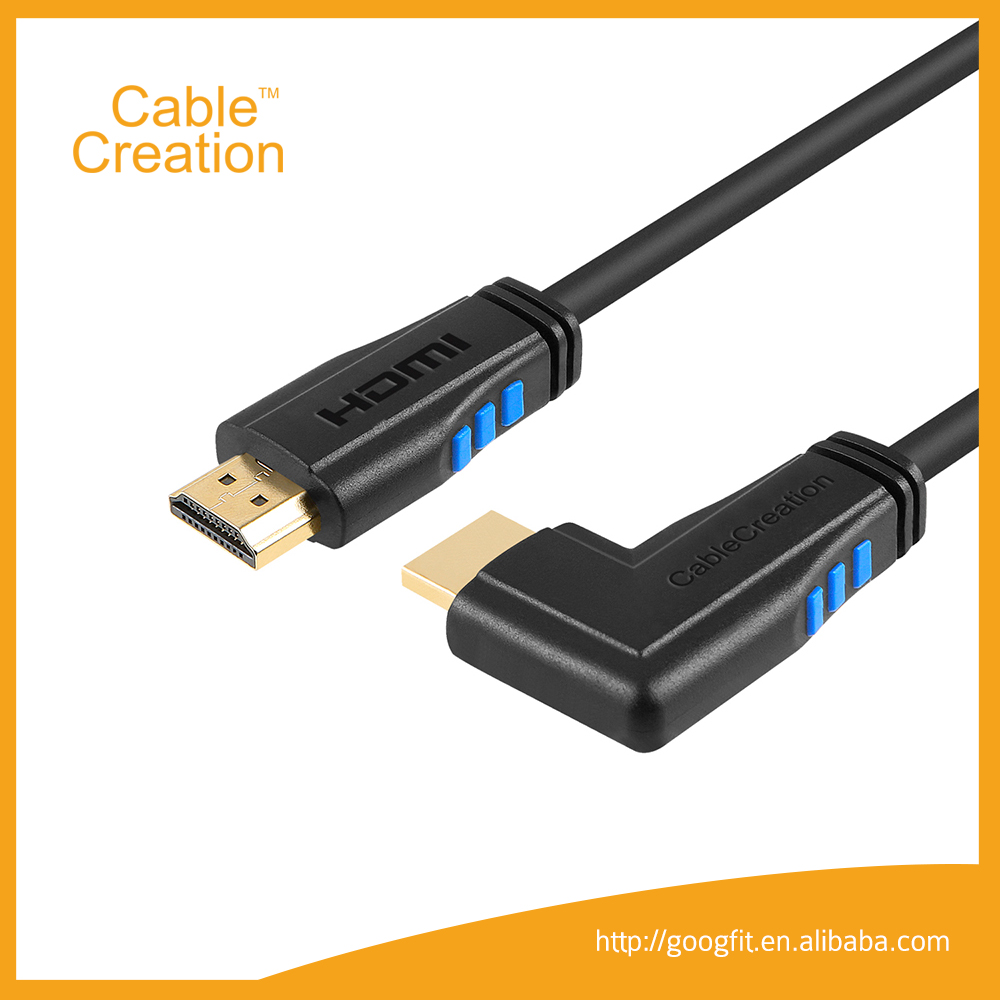 Gold Plated Two Color HDMI 2.0 4K*2K@60Hz 10 Feet Right Angle HDMI Cable