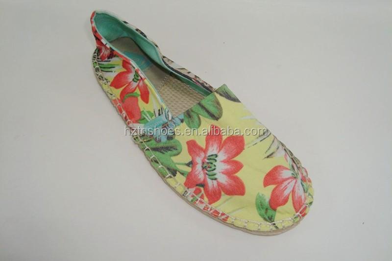 2015 de la flor de la lona alpargata zapatos para las señoras con comodidad yute suela