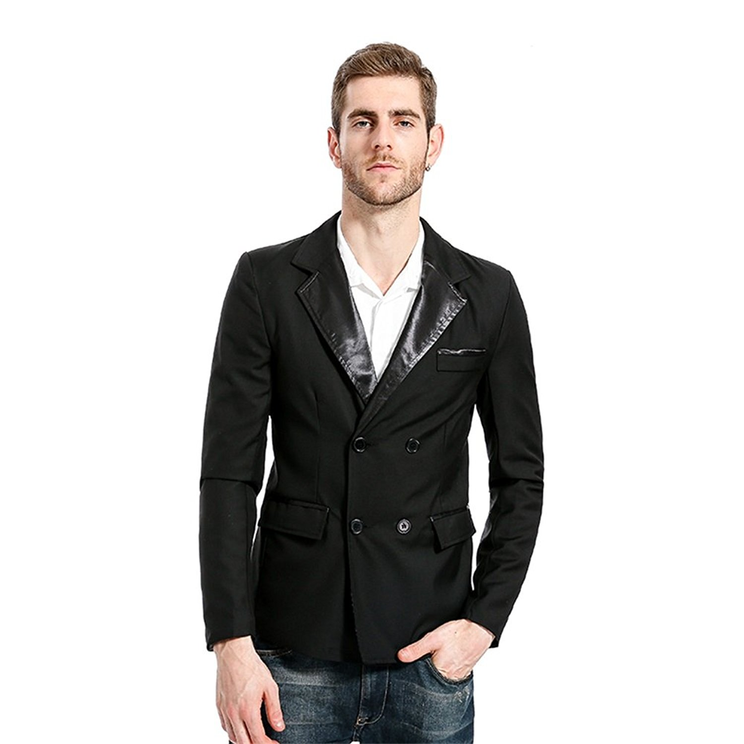 30042ed6f360 Get Quotations · FUMUD Black Red Mens Blazers Jackets Suit Spring Autumn  Long Sleeve Formal Business Jacket