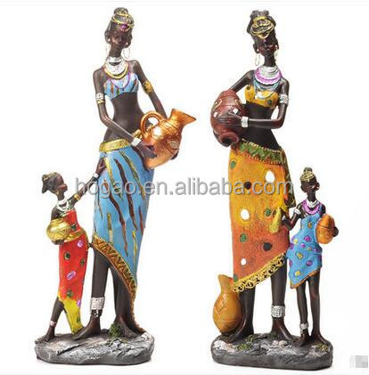 polyresin exotic african women figurines home decoration gift