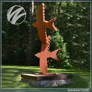 Corten steel large flying swallow statue sculpture for garden decoration