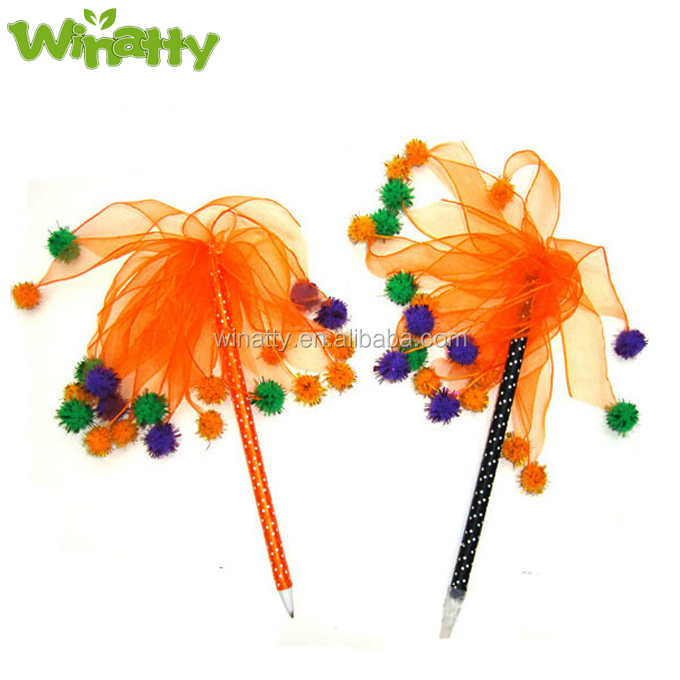 Fuzzy Ball Glittered Decoration Ribbon Pen Ghost Festival Blue Ink Ball-Point Pen