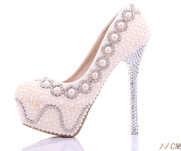 80c7fdcb93 ivory pink 12/14cm high heels wedding shoes pumps women's platform shoes  pearl rhinestone thin crystal heels bridal shoes
