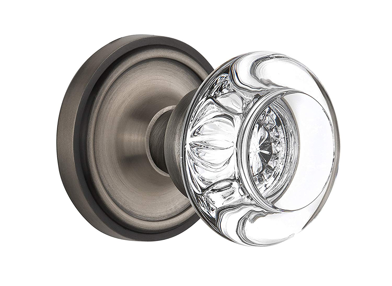 "Nostalgic Warehouse Classic Rosette with Round Clear Crystal Glass Knob, Privacy - 2.375"", Antique Pewter"