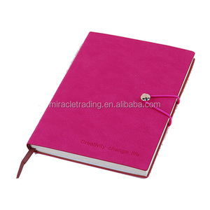 Custom a5 pu leather diary with elastic closure PU leather cover office simple embossed notebook