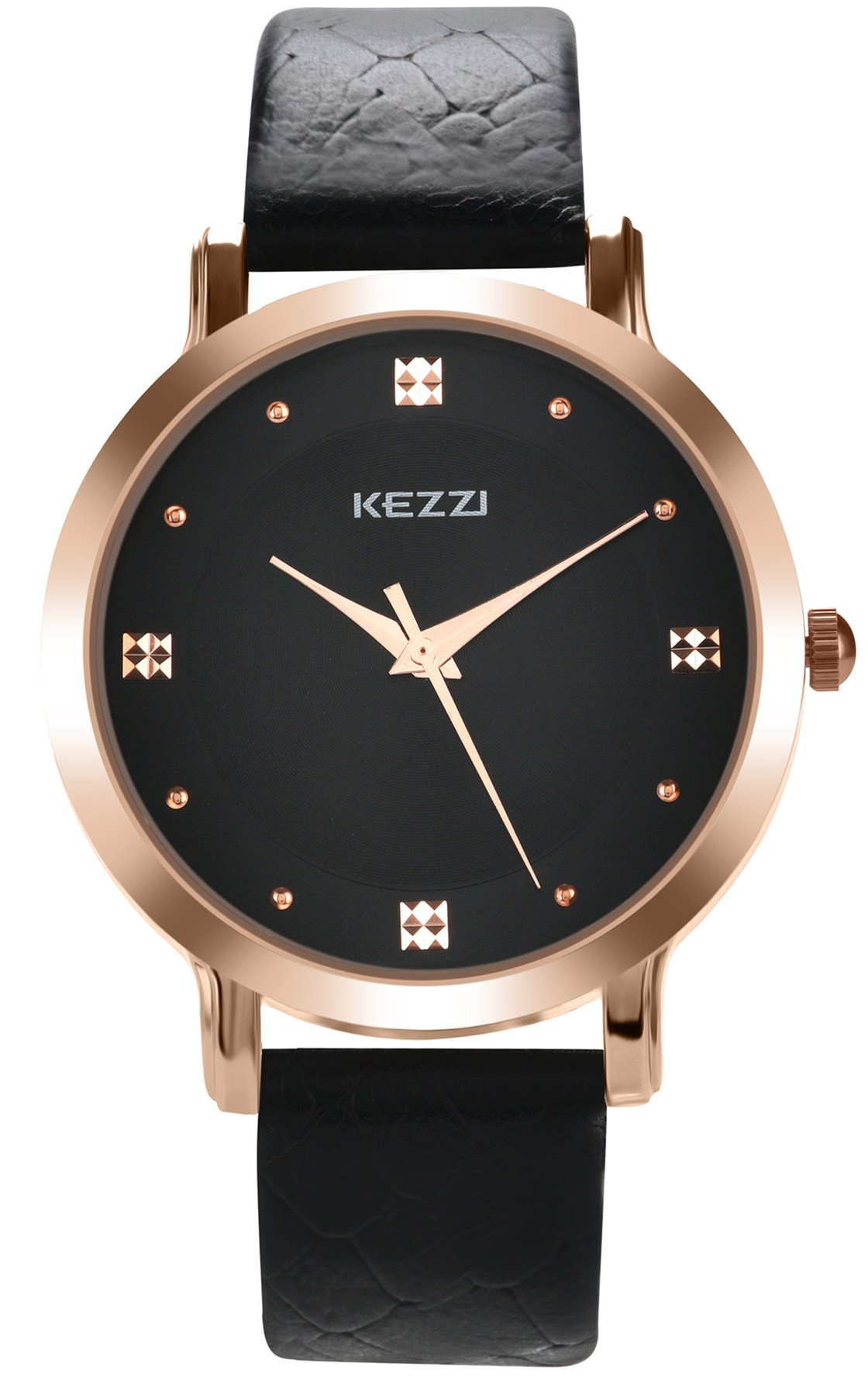 Mens Leather Watch Classic Bussiness Casual Quartz Analog Wrist Watches Simple Arabic Numeral Calendar Date Male Dress Wristwatch Black Strap Black Dial Timepiece 99 Ft Waterproof