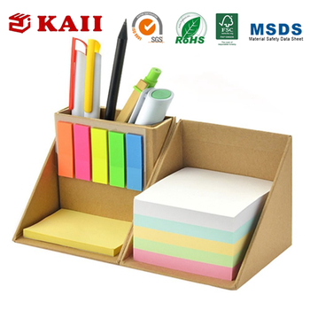 KAII Colored Sticky Note Set and Organizer,Compact Sticky Note Holder Box for Home Office School Use
