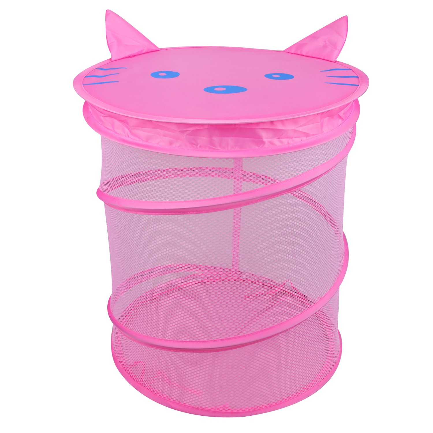Leadstar Pop Up Laundry Hamper Foldable Mesh Basket Storage Bag For Clothes Toys More Pink Cat