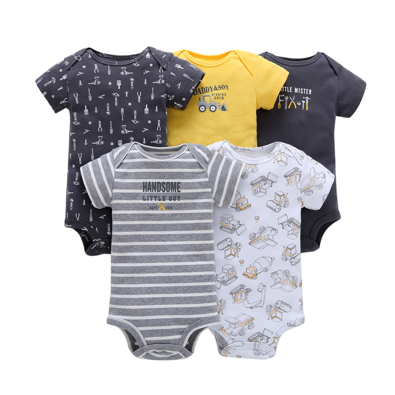 5pcs/Lot Unisex Infant Bodysuits Summer Clothes Romper <strong>Baby</strong> Girls 6-24Months <strong>Baby</strong> One-pieces <strong>Jumpsuit</strong>