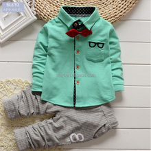 children's clothing Sets fall Baby boys suits button up pocket embroidered boys clothing with Long Sleeve T-shirt and long Pant