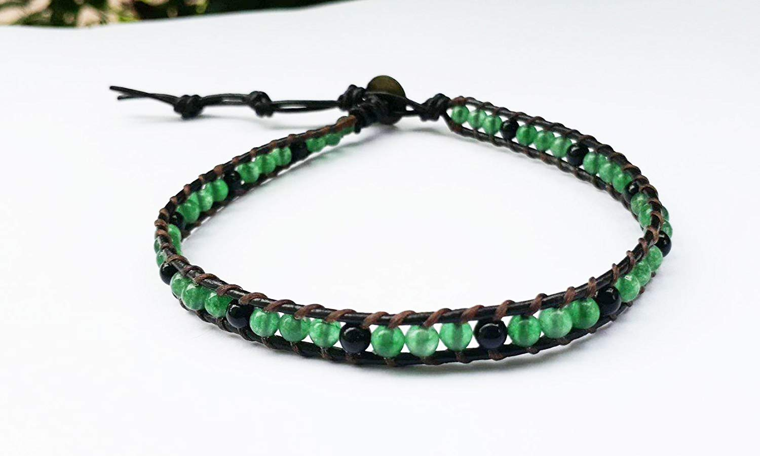 Jade stone anklets,leather anklets,men anklets,women anklets,fashion anklets,onyx anklets,green anklets
