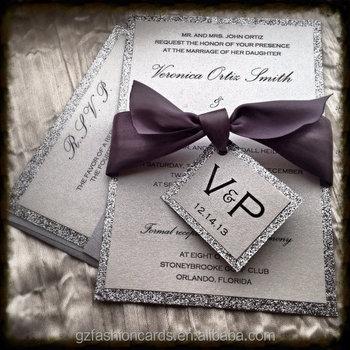 Handmade Glitter Silver Wedding Invitations Monogram Pa252