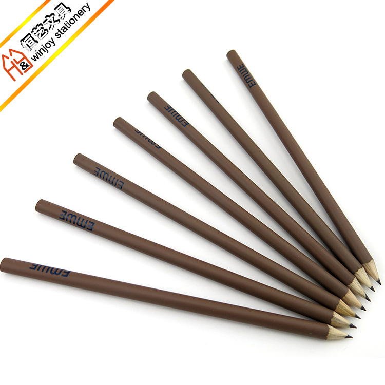 Standard hb pencil ,7 inch round shape brown pencils with custom logo printing .