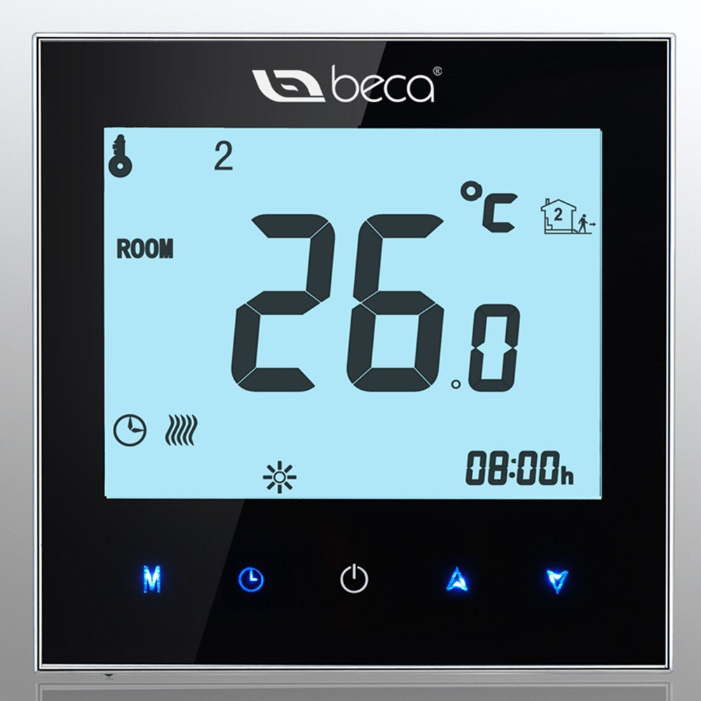BECA 95~240VAC Data Memory LCD Digital Touch Screen 5+2 six periods Weekly Programmable 3A Water Floor Heating Room Thermostat (black)