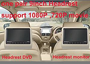 Universal 9 inch car clip on headrest DVD player with USB/SD,Bracket,HDMI,32 bits Game,IR,FM transmitter,HD screen,1PC DVD+1PC monitor