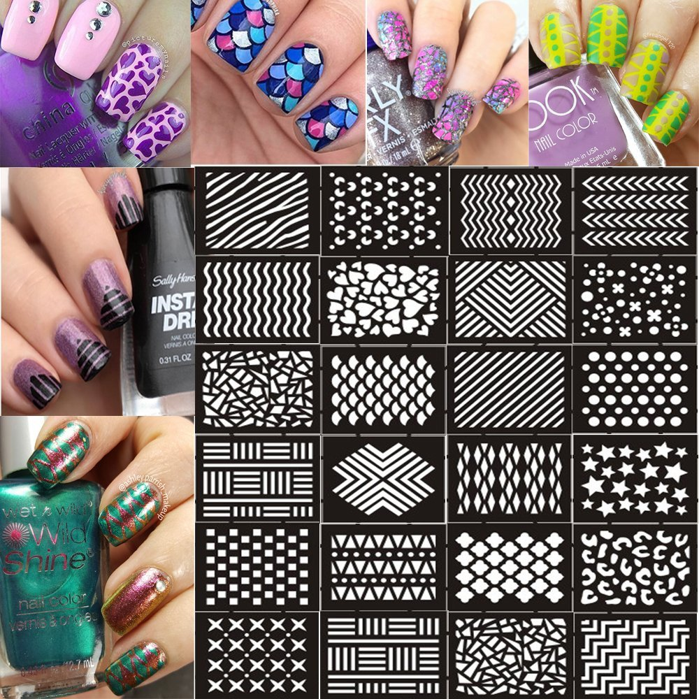 Get Quotations Ejiubas 144 Pieces 24 Different Designs Nail Vinyls Stencil Sheets Easy Art Guides