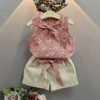 Summer New fashion kids girls clothes sets hot sell children clothing sleeveless shirt and short