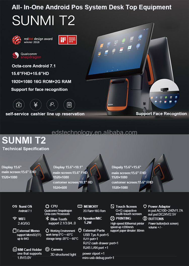 Desktop Pos Machine Sunmi T2 all in one pos met printer met volledige sterke touch screen bar code scanner