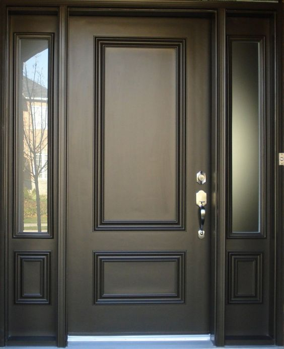 New main simple gate design oak wood panel entrance doors