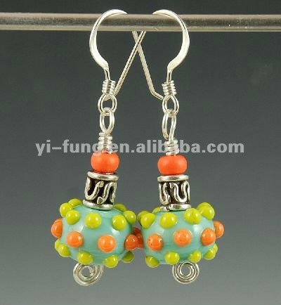 Lamp Glass Bead Earrings Jewelry-Bright Polka Dots