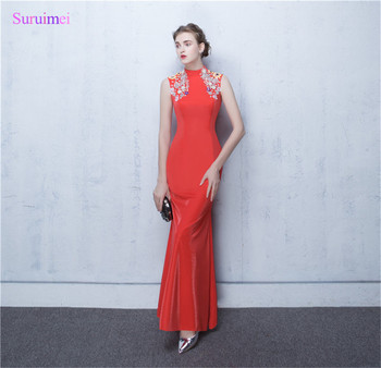 China Traidition Design Mermaid Long Eveing Dresses O Neck Applique Beaded  Satin Formal Vintage Evening Gown 874d1fed7ef1