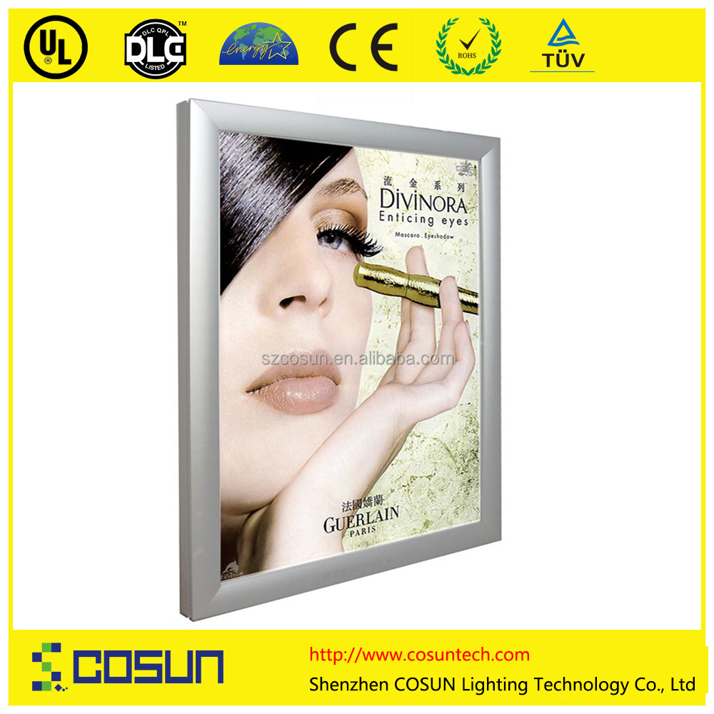 Edge Light advertising Cutomized light box super thin led snap frame light box with protective corner hot sales