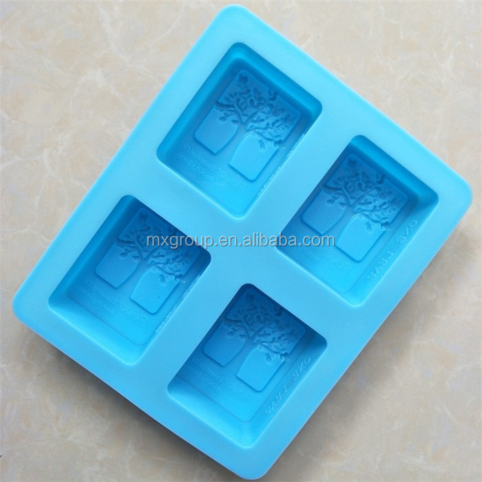 Home Diy 4 Cavity tree shape Food Grade Rectangular Baking cake Mould 3d silicone soap molds