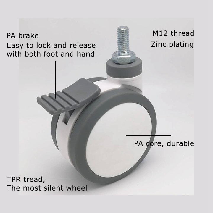 M12 threaded stem medical trolley caster with face brake