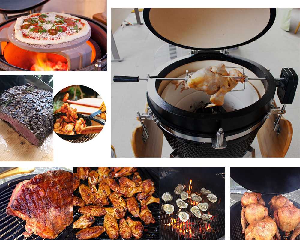"Auplex Hot Sale 18"" 21"" 23.5""  Kamado Accessories Rotisserie Kit"