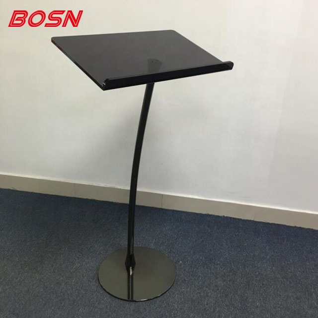 Curved Floor Standing Steel Lectern Podium Pulpit Black Pole