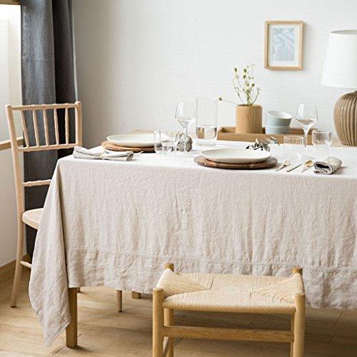 "Pure linen tablecloth frame border and 6 napkins. Home decor. 100% linen. 86.6x59"", natural color"