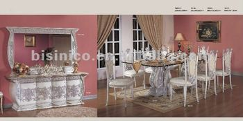 Luxury Silver Plated Dining Sets European Room Furniture Console Table And Mirror