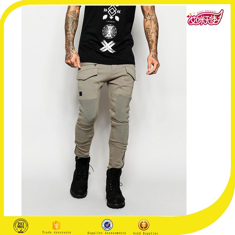 Custom men fashion moto bike trailer jogger,skinny biker joggers With Side Zips