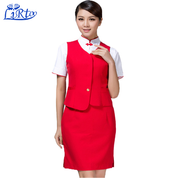 Custom Sexy Short Skirt Vest Fancy Dress Flight Attendant Stewardess