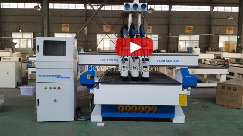 Multi wood cnc machine 3d cnc router with three head