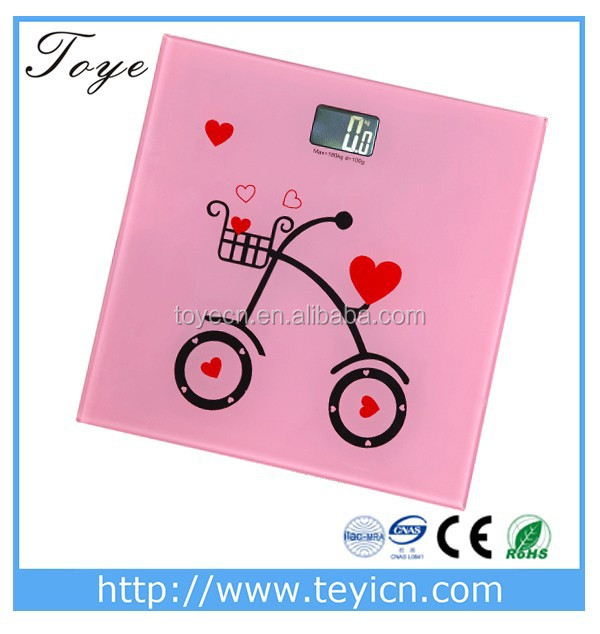 Square Mini digital personal scale with LCD display& bicycle picture from Zhejiang China