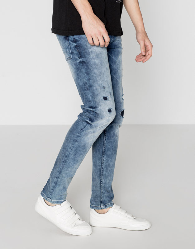 Men's acid washed Big skinny fit jeans with rips and patches