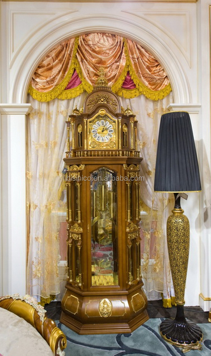 Super Large Size Golden Grandfather Clock Antique Luxury Decorative