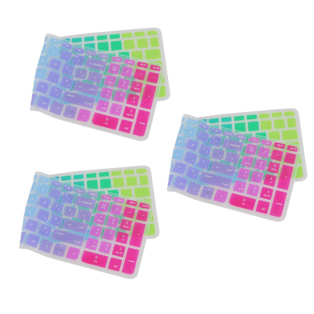 MagiDeal Pack of 3 Silicone Keyboard SKin Cover Guard Film Protector Colorful for HP Pavilion 15inch