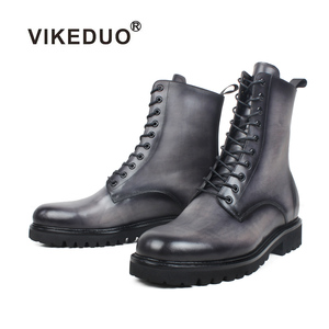 VIKEDUO Hand Made Designer New Style Best Winter Western Calf Vintage Ankle Men Custom Leather Boots