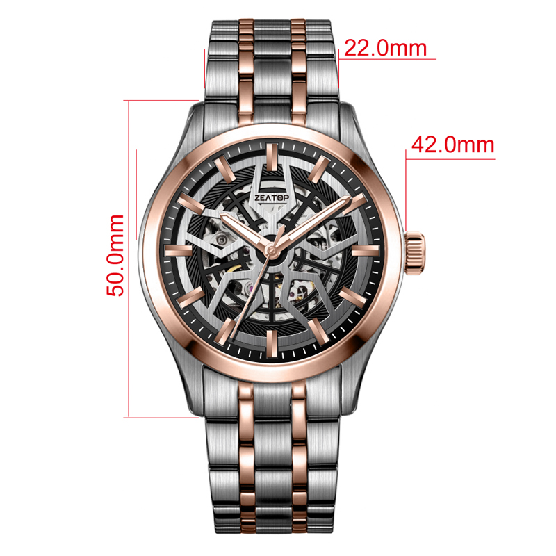 Top Sale Mechanical Movement Anti Glare Coated Glass Two Tone Metal Strap Automatic Wristwatches Men Watch