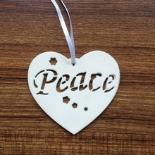 Heart shaped Ceramic Ornament for Christmas decoration