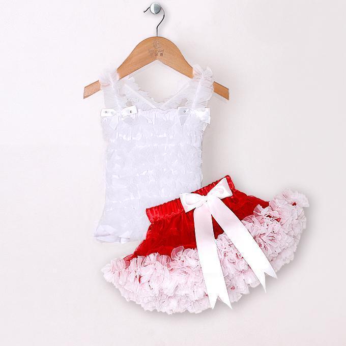 124bc306e Летная детская одежда нарядные белые комплекты одежды для девочек: майка +  пышная юбка
