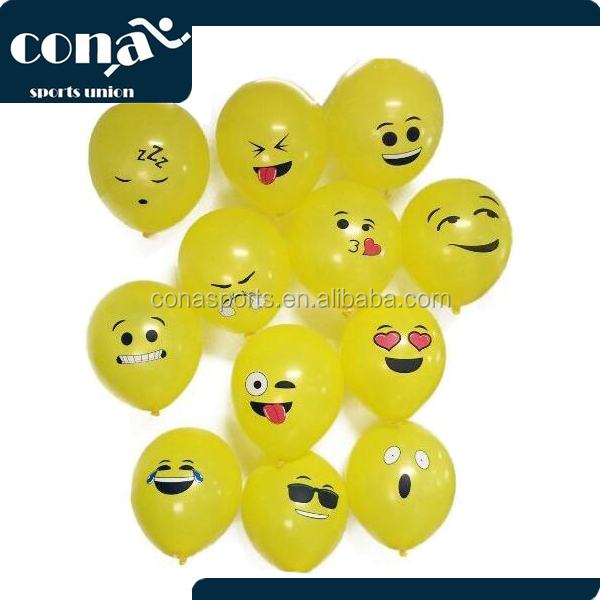 Premium Quality Balloons 2017 Hot Sale Emoji Face 12 Inch Assorted Color Helium and Air Balloons for Birthdays and Events