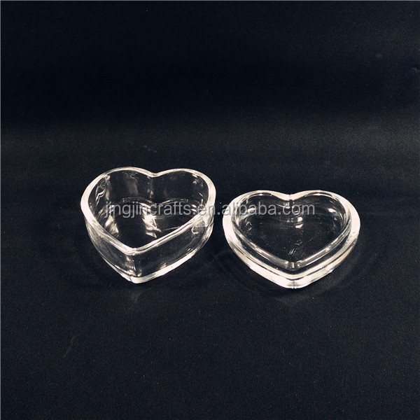 Love Heart Shaped Crystal Clear Glass Jewellery Jar Jewelry Box