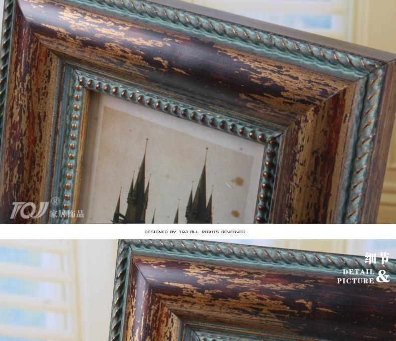 6 дюймов / 7 дюймов высокого класса европейский / американский деревянному каркасному / сделать старые прямоугольные фоторамка фотография стены украшения / Y126