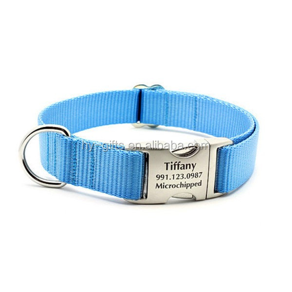 tracking engrave id dog collar custom logo metal buckle dog collar