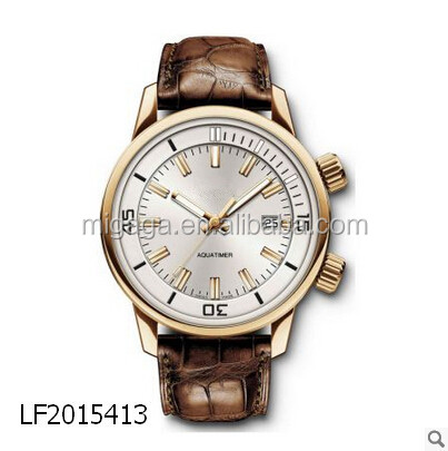 gold case, brown crocodile watch, high quality watch