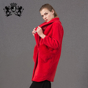 Fur pocket design red fluffy shearing womens fur parka coat